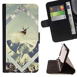 Momo Phone Case / Flip Funda de Cuero Case Cover - Geometría de la nieve de los ciervos;;;;;;;; - Motorola Moto E ( 1st Generation )
