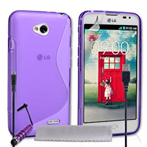 Caseflex LG L70 Case Purple Silicone S-Line Cover With Mini Stylus Pen And Micro USB Cable