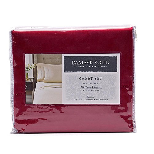 Charter Club Damask Solid 500 Thread Count King Sheet Set