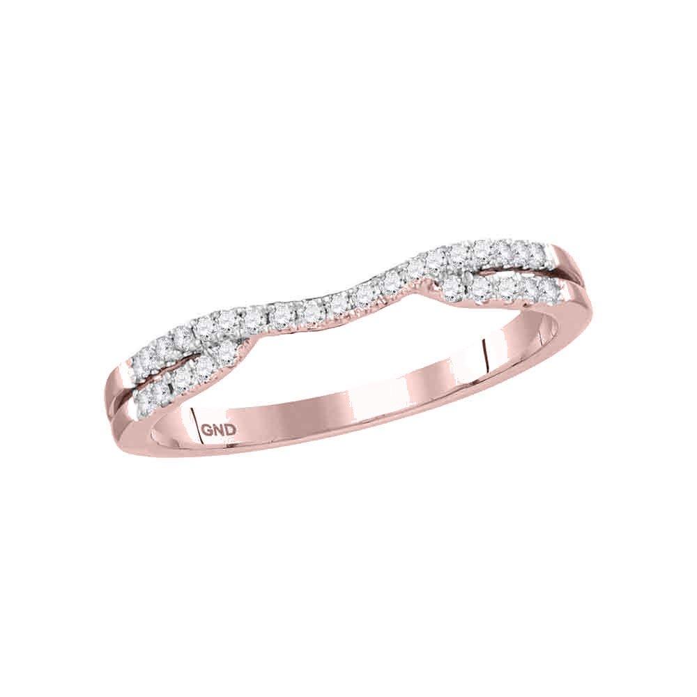 14kt Rose Gold Womens Round Diamond Contoured Enhancer Wedding Band Ring 1/6 Cttw