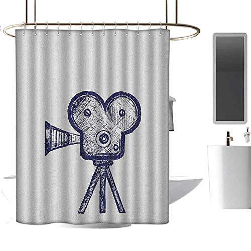 Camping Shower curtain36 x72 Movie Theater,Hand Drawn Sketch of a Video Projector in Blue Tones Cinema Symbol Violet Blue Grey,100% Polyester Fabric Bathroom Drapes