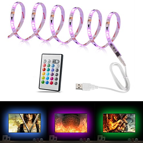 YOUKOYI USB Powered TV Backlight Bias Lighting RGB Multi Color LED Strip Lights for 48 to 50 Inch Flat Screen HDTV LCD Desktop PC Home Movie Theater Decor