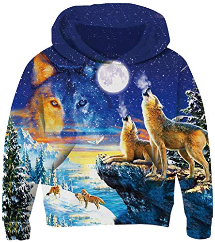 UNICOMIDEA Kids Hoodies for Boys Cool Pullover Picture Sweatshirt Wolf and Moon 3D Print Graphic Hooded with Plush Lining and Pocket for Winter Size -