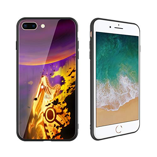 627 Glasses - Anime Comic Manga Naruto 627 Design, Tempered Glass Case for iPhone7 Plus and iPhone8 Plus, Soft Silicone Bumper Anti-Scratch Ultra-Thin, iPhone7 Plus and iPhone8 Plus Phone Cover for Girls, Teens