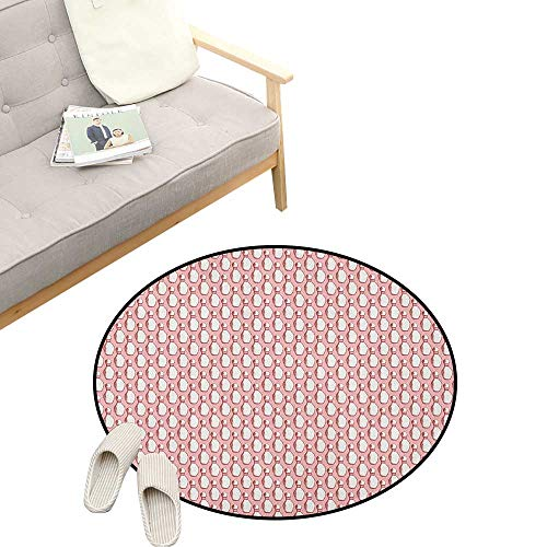 Bowling Round Rug ,Sketchy Pins in Vintage Style on Pinkish Backdrop Sports Leisure Time Activity, Flannel Microfiber Non-Slip Soft Absorbent 47
