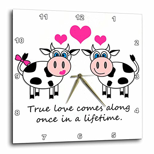 Love Wall Design - 3dRose dpp_6286_1 Wall Clock, True Love Comes Along Once in a Lifetime Cute Happy Cows Design, 10 by 10-Inch