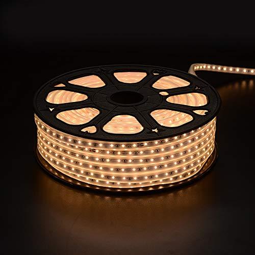 (High Voltage LED Light Strips Plug in, IP65 Waterproof Flex Cuttable Strip Lights for Indoor & Outdoor Decoration, 164FT/50M 110V SMD2835 60 LEDs/Meter Single Color 3000K Warm)