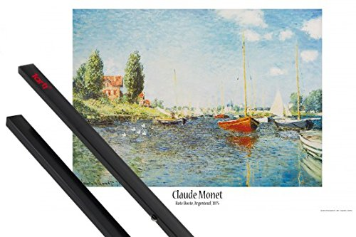 Poster + Hanger: Claude Monet Poster (36x24 inches) Red Boats At Argenteuil, 1875 And 1 Set Of Black 1art1 Poster Hangers