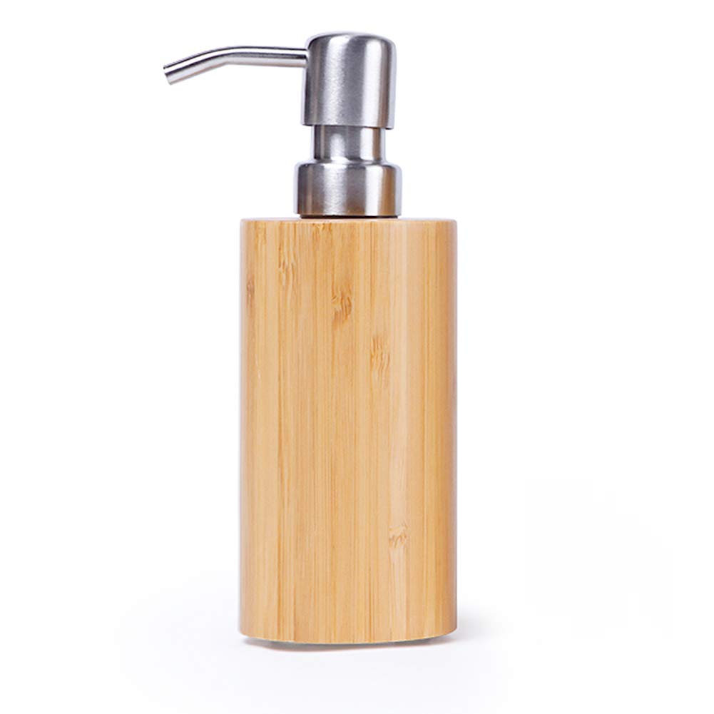 DGSFES Bamboo Soap Dispenser with Stainless Steel Pump Refillable Wash Hand Soap, Ideal for Liquid Soaps, Essential Oils and Lotions-350ML