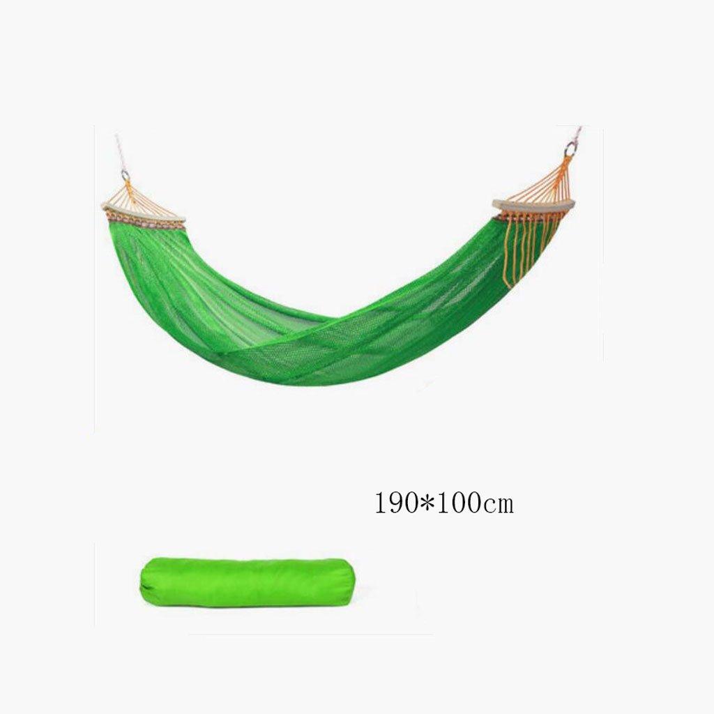 Hängematte Outdoor Hängematte Camping Camping Schaukel Hängematte Bergsteigen Hängematte grüne Mesh Polyester Hängematte tragbare Hängematte (Lagerbeutel  1), (190  100cm)
