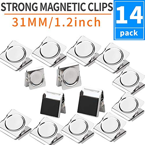 14 Note - Grtard Set of 14 pcs Metal Magnetic Clips - Refrigerator Whiteboard Wall Magnetic Memo Note Clip for House Office School - 1.2 inch