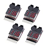 SPARKOLE RC LiPo Battery Alarm Low Voltage Checker with LED Indicator for 1S-8S LiPo LiFe LiMn Li-ion Battery,Warning Buzzer(4 Packs)