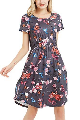 NICIAS Women Floral Short Sleeve Tunic Vintage Midi Casual Dress with Pockets (Dark Grey, Medium)