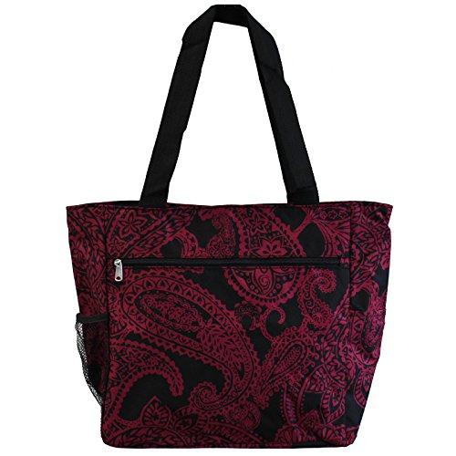 World Traveler 13.5 Inch Beach Bag, Black Pink Paisley, One Size