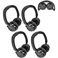 Four Pack of Two Channel Fold Flat Adjustable Child-Adult Size Universal Rear Entertainment System Infrared Headphones Wireless IR DVD Player Head Phones for in Car TV Video Audio Listening