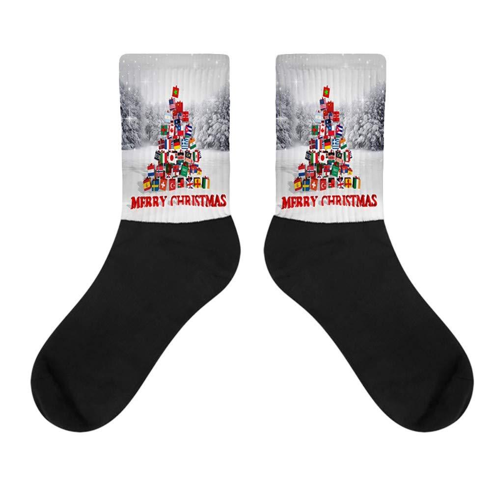 Kingspinner Men Women Novelty 3D Socks Christmas Mid Tube Socks Color Block Painting Ankle Socks (D)