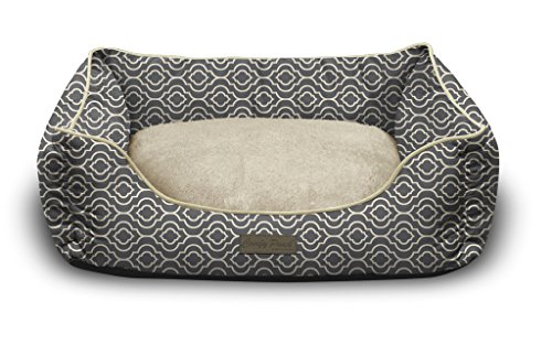 Pet Trendy Modern Chic Trellis Thick Bolstered-Microfiber Machine-Washable Pet Bed for Dog and Cat, 20-Inch x 28-Inch x 8-Inch, Slate Gray