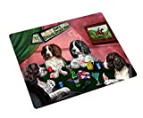 English Springer Spaniel Tempered Cutting Board 4 Dogs Playing Poker