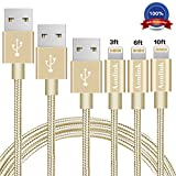 Aonlink iPhone Cable, 3Pack 3FT 6FT 10FT Nylon Braided to USB Lightning iPhone Charger Cord with Aluminum Connector for iPhone 7/7 Plus/6s/6s Plus/6/6Plus/5s/5c/5, iPad/iPod Models-Gold