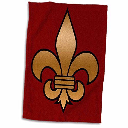 3D Rose Large Black and Gold Fleur De Lis on Maroon Background Christian Symbol twl_30760_1 Towel, 15'' x 22'' by 3dRose