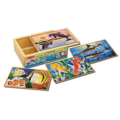 Melissa & Doug Sea Life Jigsaw Puzzles in a Box (Four Wooden Puzzles, Beautiful Artwork, Sturdy Wooden Storage Box, 48 Pieces, 8