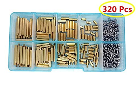Guard4U 320pcs M2 Hex Male-Female Brass Spacer Standoff&Stainless Steel Screw Nut Assortment Kit (M2 - Brass Stainless Steel Nuts