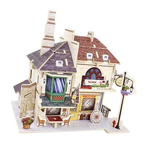 NATFUR 1:24 DIY Doll House Wooden Tea House Furniture Kit DIY Girl Boys Gifts -