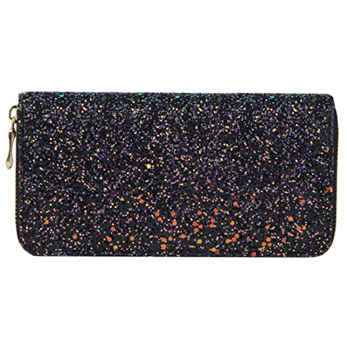 Shiny Holder Badiya Bling Women's Black Card Design Long Glitter Purse Clutch Wallet cHw0qOHAa