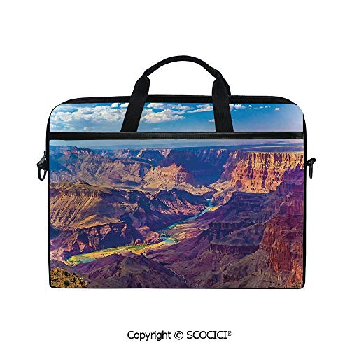 Customized Printed Laptop Bag Notebook Handbag Aerial View of Epic Grand Canyon Activity of River Stream Over Rock Plateau Print 15