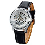 Seasonwind Luxury Silver Mechanical Semi-automatic Commercial Dial Window Skeleton Analog Leather Men Wrist Watch