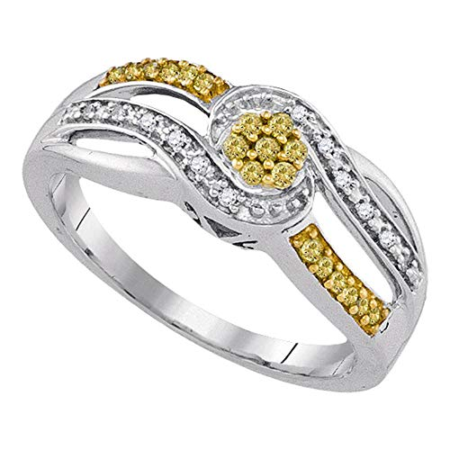 Yellow Diamond Swirl Cluster Ring Fashion Band Cocktail Style 1/5ct 925 Sterling Silver ()