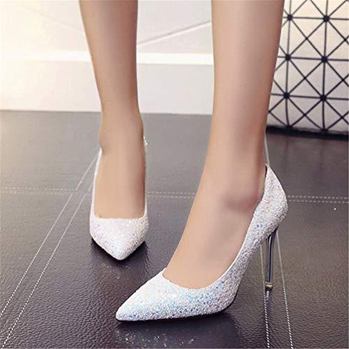 Escarpins Heels High Mode Escarpin à Paillettes JITIAN Soirée Blanc Chaussures Bling Aiguilles Femmes Pumps wqp7gIX