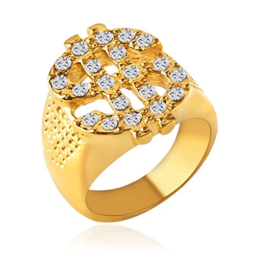 (HZMAN Mens 18k Real Gold Plated Hip Hop Cz Inlay Dollar Sign Rings)
