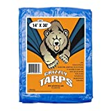 Grizzly Tarps GTRP1430 14-Feet X 30-Feet Blue Multi-Purpose 6ml Waterproof Poly Tarp Cover with Tent Shelter Camping Tarpaulin by Grizzly Tarps
