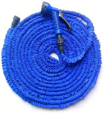 Manguera mágica elástica para jardín con pistola de riego, extensible hasta 3 veces su longitud original.22, 5 m, color azul: Amazon.es: Deportes y aire libre