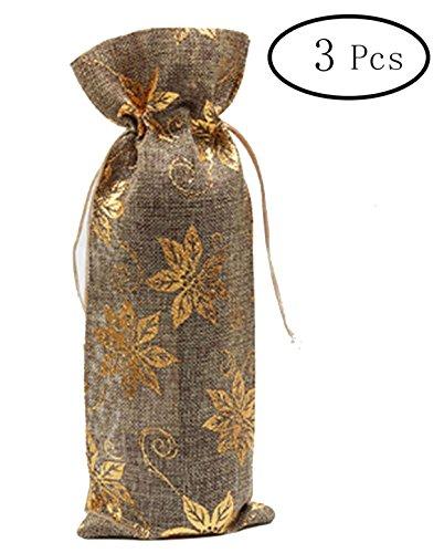 Burlap Wine Bottle Gift Bags - 4