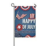 InterestPrint Happy 4th of July Independence Day Double Sided Polyester Garden Flag Banner 12 x 18 inch, USA American Flag Decorative Yard Flag for Party Home Decor