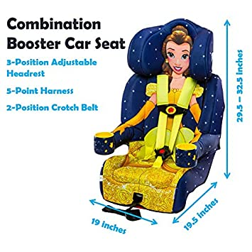 KidsEmbrace 2-in-1 Harness Booster Car Seat, Disney Princess Belle