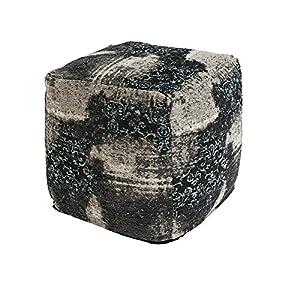 QAZQA–Ottoman carrée Vintage Motif Noir/Beige/Turquoise 45x 45x 45cm–Puri