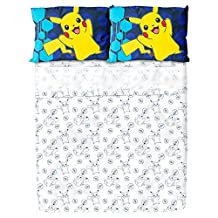 Pokemon Pikachu Sheet Set (Full) White & Blue