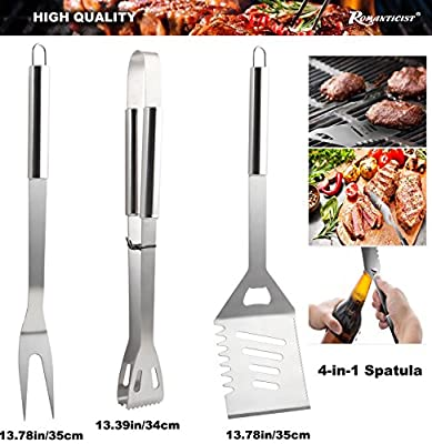 ROMANTICIST 19Pc Heavy Duty Stainless Steel BBQ Grill Tool Accessories Set in Gift Box - Outdoor Camping Barbecue Grilling Utensils Gift Kit with Aluminum Case for Men Dad Women