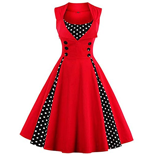 KILOLONE Womens Retro Vintage Plus Size Rockabilly Pinup Swing Dresses,Red_sleeveless,XX-Large
