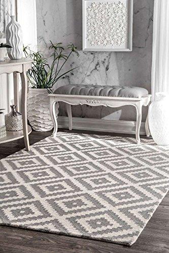 - nuLOOM Contemporary Kellee Diamond Wool Rug, 5' x 8', Grey