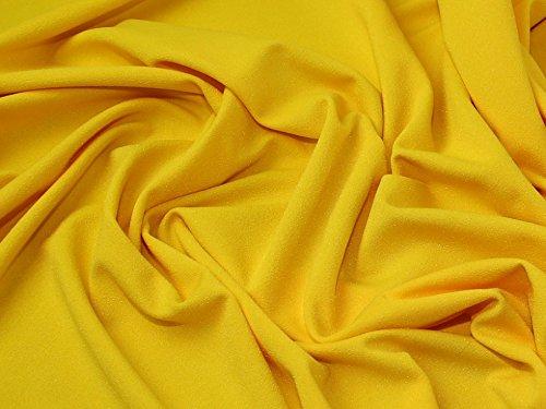 Plain Scuba Crepe Stretch Jersey Knit Dress Fabric Yellow - per ()