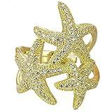 Hi - SUMMER JEWELRY Helen de Lete Full Rhinestone Starfish Sterling Silver Earrings Necklace Jewelry Set.