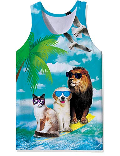 Mens Loose Fit Muscle Tank Singlet Tops Cool Surf Animals Cat Dog Lion Pigeon Dove Cool Design Graphic Retro Wife-Beater Vest Fashion School Baggy Cut Off Tees Shirt for Dude Bro Dad Guys