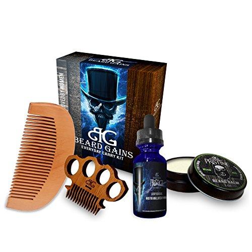 Beard Gains Prestige Every Day Carry Beard Care Kit – Beard Oil, Beard Balm Conditioner, Mustache Comb, Wooden Beard Comb