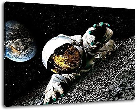 Dark Astronauta en Formato Luna: 60x40 cm cubiertos de pintura sobre lienzo, enorme XXL