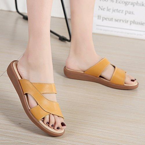 Mujer Zapatillas Lleve El OME Amarillo Con Zapatillas Match amp;QIUMEI Verano Piso Zapatos Oficina Verano Todo x0nqSp8wU