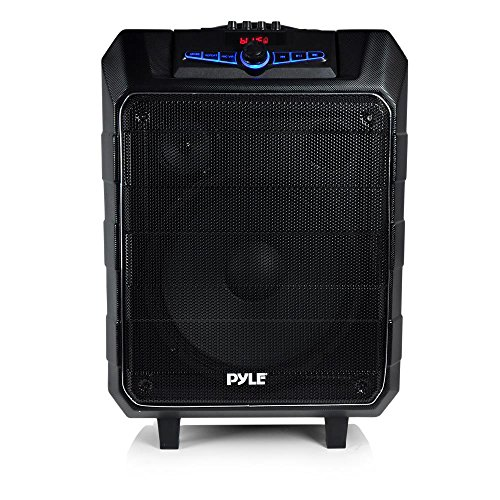 pyle pa speaker job site radio karaoke machine 2 microphone input 1 mic included water resistant. Black Bedroom Furniture Sets. Home Design Ideas